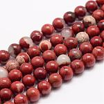 Natural Red Jasper Bead Strands, Round, 6mm, Hole: 1mm; about 63pcs/strand, 15.5
