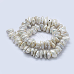 Natural Baroque Pearl Keshi Pearl Beads Strands, Cultured Freshwater Pearl, Nuggets, Old Lace, 12~15x15~20x4~8mm, Hole: 0.2mm; about 64pcs/strand, 15.7inches