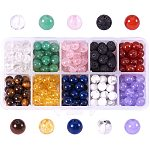 NBEADS 250-300 Pcs Assorted Color 8mm Gemstone Beads Quartz Beads Lava Stone Beads Howlite Beads Charms for Diy Jewellery Making