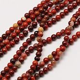 Natural Red Rainbow Jasper Round Beads Strands, 2mm, Hole: 0.8mm; about 184pcs/strand, 16