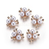 Alloy Rhinestone Cabochons, with Acrylic Pearl Beads, Flower, Golden, 20x21x10mm