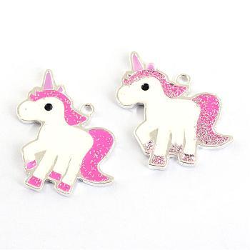 Zinc Alloy Enamel Pendants, Unicorn, Silver Color Plated, Lead Free, Hot Pink, 24.5x25.5x1.5mm, Hole: 1.5mm