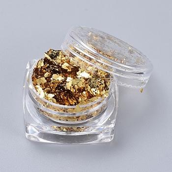 Folienflocken, DIY Vergoldungsflocken, für Epoxidschmuck Zubehör Füller, golden, Feld: 2.9x1.6cm