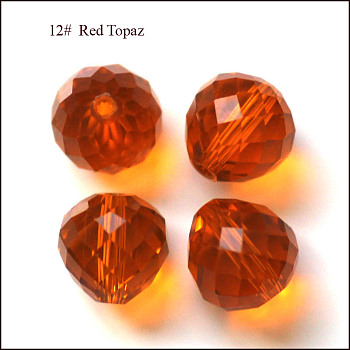 Dark Orange Imitation Austrian Crystal Beads, Grade AAA, Faceted, Teardrop, Dark Orange, 6mm, Hole: 0.7~0.9mm