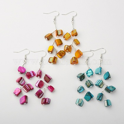Dyed Sea Shell EarringsEJEW-JE01034-1