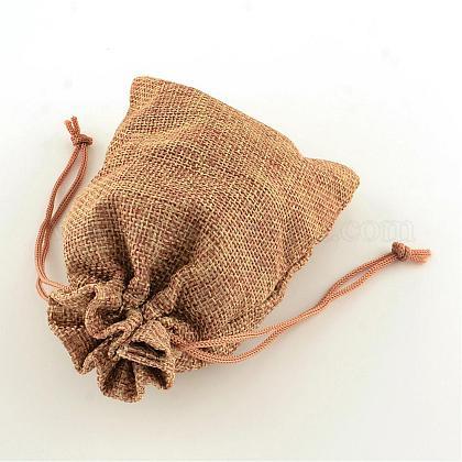 ポリエステル模造黄麻布包装袋巾着袋ABAG-R004-14x10cm-03-1