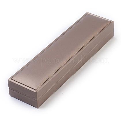 Cajas de collar de joyería de madera cubiertas de seda de imitaciónOBOX-F004-03-1