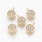 Brass Cubic Zirconia Pendants, Nickel Free, Real 18K Gold Plated, Flat Round, Clear, 9.5x7x1.5mm, Hole: 1.5mm
