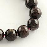 Natural Garnet Gemstone Bead Strands, Round, 8mm, Hole: 1mm; about 48pcs/strand, 14.9