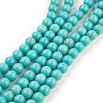 Abalorios de turquesas sintéticas hebras, teñido, redondo, LightSeaGreen, 4mm, agujero: 1 mm; aproximamente 110 unidades / cadena, 15.6