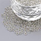 Fgb®6/0透明な銀の裏地が付いた丸いガラスシードビーズ, グレードA, 透明, 4x3mm, 穴:1ミリメートル、約4800個/ポンド