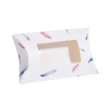 White Paper Pillow Boxes, Gift Candy Packing Box, with Clear Window, Feather Pattern, White, 17.5x10.05x3.85cm