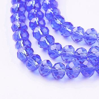 Medium Blue Handmade Glass Beads, Faceted Rondelle, Medium Blue, 6x4mm, Hole: 1mm; about 90~93pcs/strand