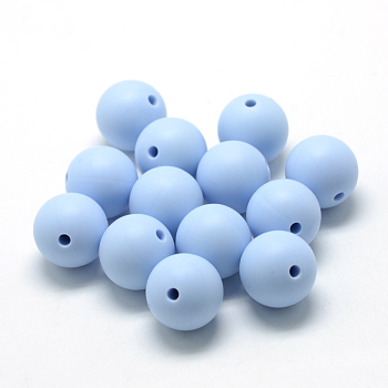 LightSteelBlue Food Grade Environmental Silicone Beads, Chewing Beads For Teethers, DIY Nursing Necklaces Making, Round, LightSteelBlue, 14~15mm, Hole: 2mm