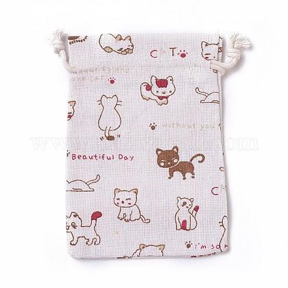 Burlap Kitten Packing Pouches, Drawstring Bags, Rectangle Cartoon Cat Pattern, Colorful, 14~14.4x10~10.2cm ABAG-I001-10x14-03