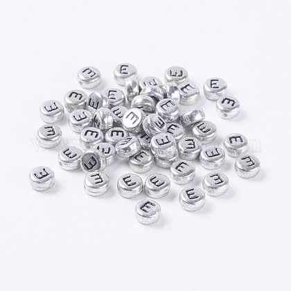 Silver Color Plated Acrylic Beads X-MACR-PB43C9070-E-1
