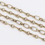 Cadenas hechas a mano de hierro igaro cadenas cadenas madre-hijo, sin soldar, Bronce antiguo, con carrete, enlace de la madre: 3x6 mm; enlace de hijo: 2.8x3.5 mm, 0.6 mm de espesor, 100 m / rollo