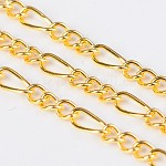Iron Handmade Chains Figaro Chains Mother-Son Chains, Unwelded, Golden, with Spool, Mother Link: 3x7mm, 1mm thick;  Son Link: 2.5x4mm, 0.63mm thick, 100m/roll