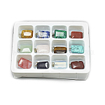 Natural & Synthetic Mixed Stone Pendants, with Stainless Steel Snap On Bails, Rectangle, 23~23.5x15x6mm, Hole: 7x4mm; 12pcs/box