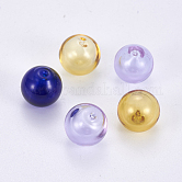 Handmade Lampwork Beads, Blown Glass Beads, Half Drilled, Round, Mixed Color, 12mm, Hole: 0.9~1mm