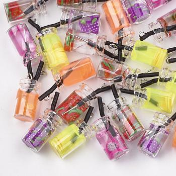 Anhänger Glasflasche, mit Harz im, Früchtetee-Charme, Mischfarbe, 25~28x10 mm, Bohrung: 1.8 mm