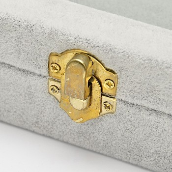 Light Grey Wooden Rectangle Jewelry Boxes, Covered with Velvet, with Glass and Iron Clasps, Light Grey, 20x15.7x4.7cm