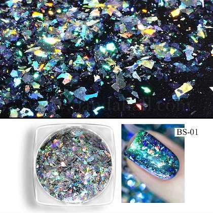 Camaleón cambio de color láser brillante uñas arte manicura lentejuelasMRMJ-K001-39-01-1