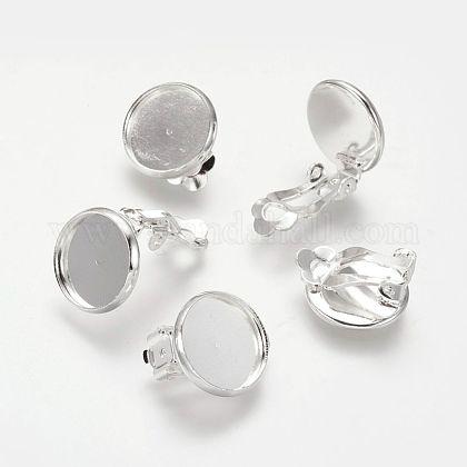 Brass Clip-on Earring SettingsKK-I007-S-NF-1