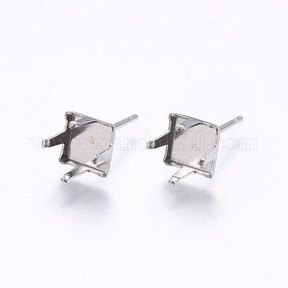304 Stainless Steel Stud Earring SettingsSTAS-I095-02P-B-1