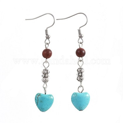 Synthetic Turquoise Dangle Earrings EJEW-JE02976-02-1