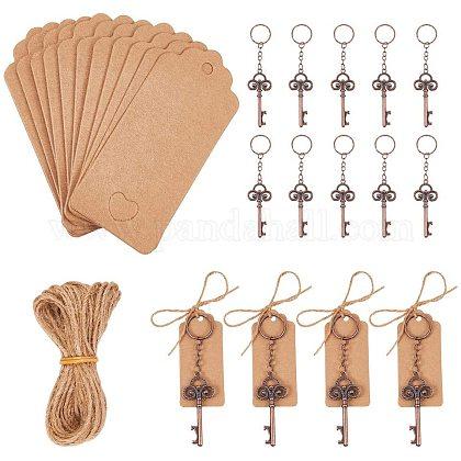 Pandahall elite 20 pcs favores de la boda abrebotellas con llave maestra con 20 piezas etiqueta de tarjeta de acompañamiento etiquetas de precio de papel de exhibición de la joyería y cuerda de hilo de 10.9 yardasAJEW-PH0016-36-1