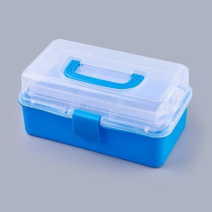 Portable Plastic Three-storey Multifunctional Storage BoxCON-WH0064-G01-1