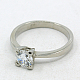 316L Stainless Steel Cubic Zirconia Engagement RingsRJEW-E015-036C-1