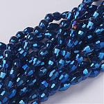 Abalorios de vidrio electroplate, azul chapado, oval con facetas, Abalorio: 6 mm de largo, 4 mm de espesor, agujero: 1 mm, aproximamente 72 pcs / cadena