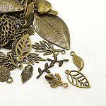 Tibetan Style Alloy Pendants, Assorted Leaf, Antique Bronze, 12.5~78x6~51x1~5.5mm, Hole: 1.5~6x3.5mm