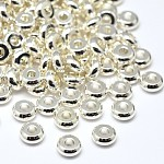 Environmental Brass Flat Round Spacer Beads, Lead Free & Cadmium Free & Nickel Free, Silver Color Plated, 5x2mm, Hole: 1mm