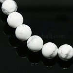 Synthetical Howlite Round Bead Strands, 8mm, Hole: 1mm; about 49pcs/strand, 15.5