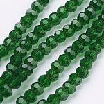 Стеклянные бусины, граненые, круглые, зелёные, 4 мм, Отверстие : 1 мм; около 98 шт / нитка, 13.7
