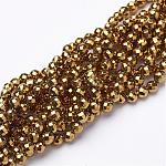 Non-Magnetic Synthetic Hematite Beads Strands, Vacuum Plating, Faceted(64 Facets), Round, Golden Plated, Gold, 4mm, Hole: 1mm