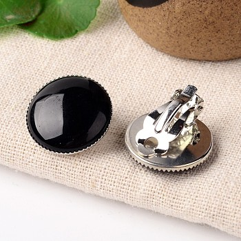 Black Agate Natural Black Agate Dome/Half Round Clip-on Earrings, with Platinum Plated Brass Findings, 21mm