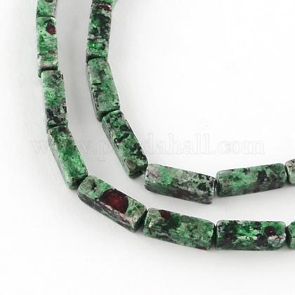 Teints rubis naturel parallélépipède en pierres précieuses zoisite brins de perlesG-R299-07-1