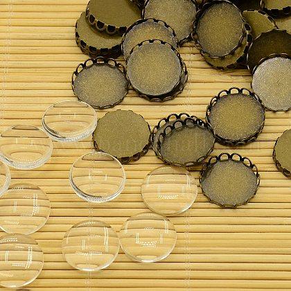 Anciennes supports cabochon laiton bronze rond et plat transparent cabochons de verre transparentKK-X0003-RS-1