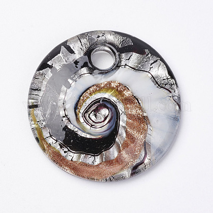 Handmade Silver Foil Glass PendantsX-FOIL-E103-02A-1