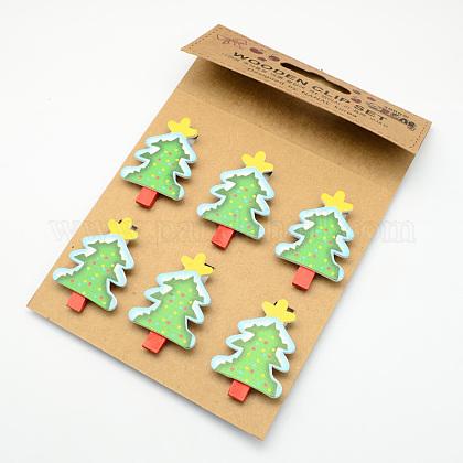 Cartoon Christmas Tree Wooden Note Pegs ClipsAJEW-S009-03-1