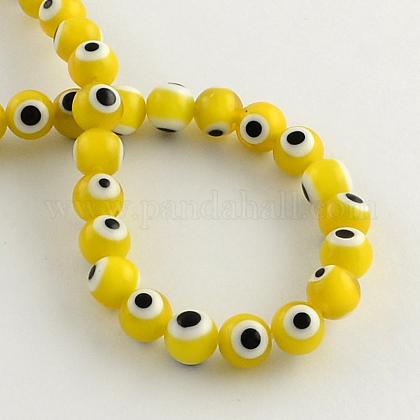 Perles rondes vernissées de mauvais œil manuellesLAMP-R114-10mm-01-1