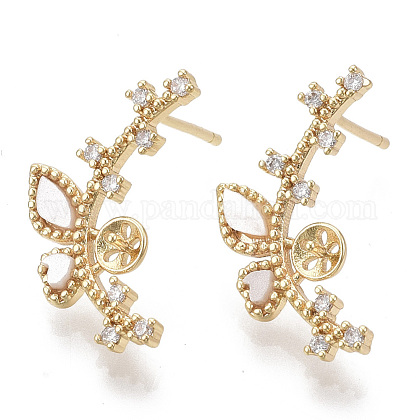 Brass Micro Pave Clear Cubic Zirconia Stud Earring Findings KK-N230-03-NF-1