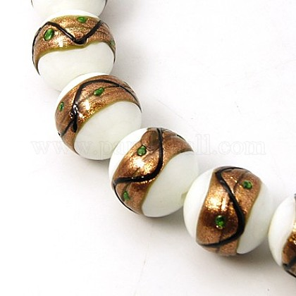 Handmade Gold Sand Lampwork Beads StrandsLAMP-G067-19~20mm-02-1