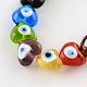 Corazón el mal de ojo hebras de abalorios de murano, color mezclado, 13~15x15x9mm, agujero: 2 mm; aproximamente 24 unidades / cadena, 11.4 pulgada