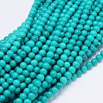 Natural Sinkiang Turquoise Round Bead Strands, Dyed & Heated, MediumTurquoise, 6mm, Hole: 1mm; about 70pcs/strand, 15.55