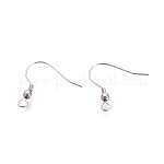 Iron Earring Hooks, Stainless Steel Color, 22x21mm, Hole: 3mm; pin: 0.8mm